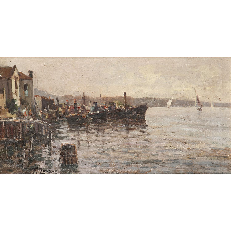 FAUSTINO ZONARO (1913-?) BATEAUX SUR LE LAGGO MAGGIORE, ITALIE Huile sur panneau Signée en bas à gauche Oil on panel; signed low...