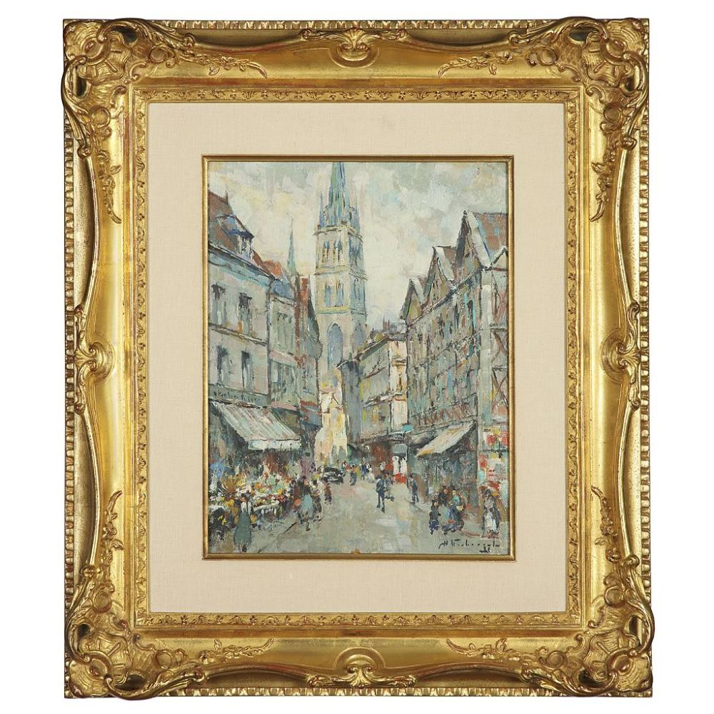 CHARLES VERBRUGGHE (1877-1975) RUE ANIMÉE À ROUEN Oil on hardboard; signed lower right 45,5 X 38 CM - 17 7/8 X 15 IN. Collection part