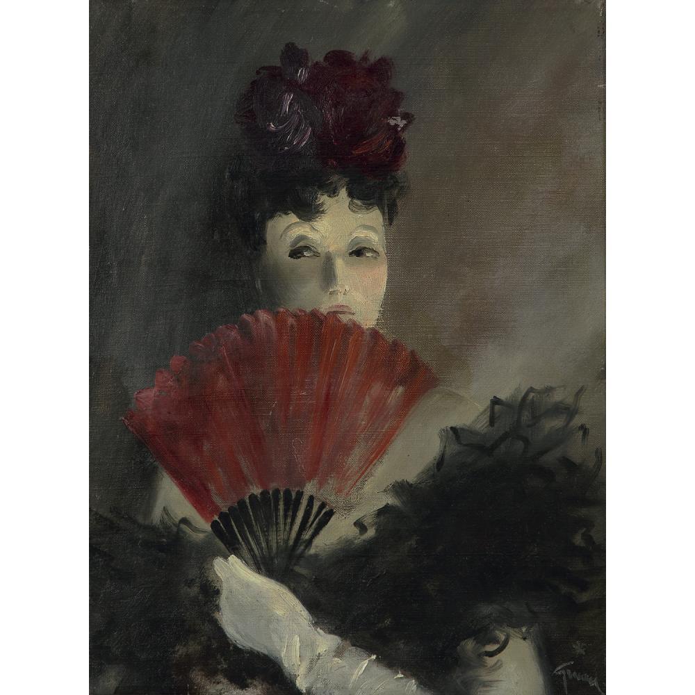RENÉ GRUAU (1909-2004) FEMME À L'ÉVENTAIL, VERS 1943 Huile sur toile Signée en bas à droite Oil on canvas; signed lower...