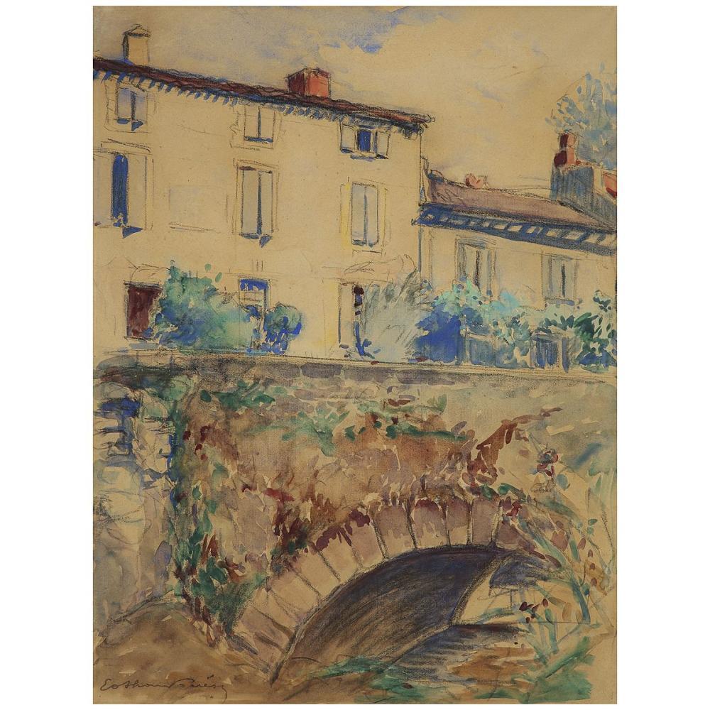 OTHON FRIESZ (1879-1949) MAISONS ET PONT DE PIERRE Watercolor and black chalk on paper; signed lower left 63 X 47 CM - 24 3/4 X 18 1/2