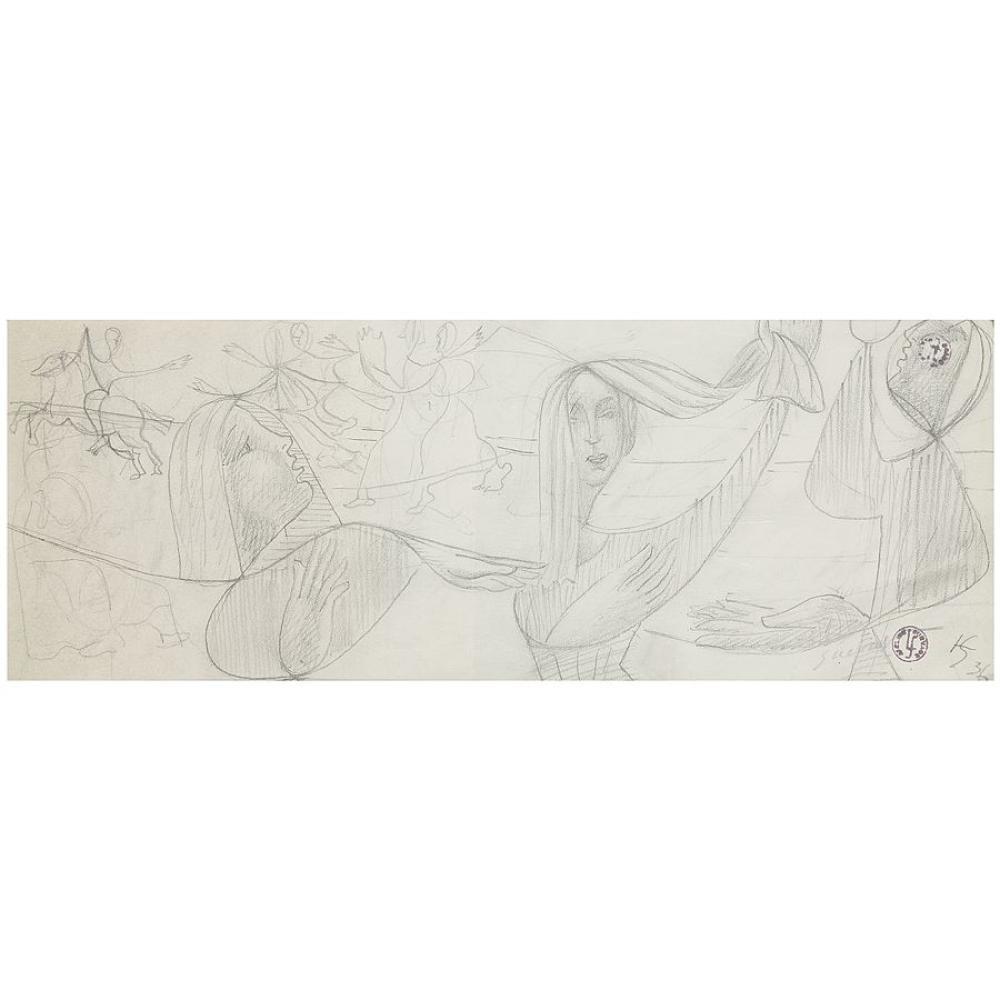 LÉOPOLD SURVAGE (1879-1928) DANSEUSES ET CAVALIER, 1936 TÊTE DE FEMME Pencil on paper; signed, signed with the artist's monogram, date