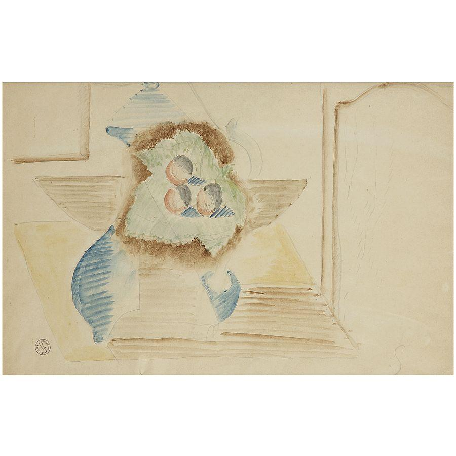 LÉOPOLD SURVAGE (1879-1928) NATURE MORTE À LA VERSEUSE ET AUX FRUITS Watercolor and pencil on paper; stamped with the atelier mark low