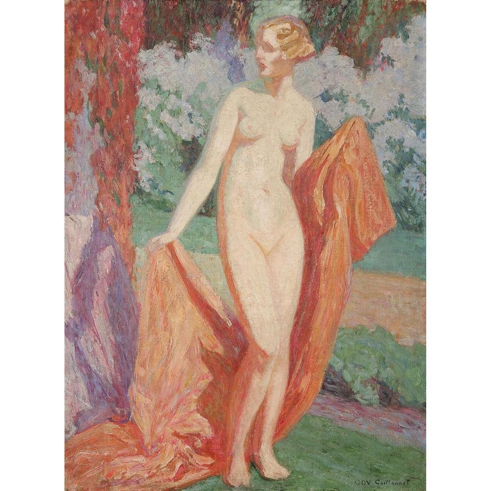 OCTAVE DENIS VICTOR GUILLONNET (1872-1967) BAIGNEUSE DEBOUT DANS UN PAYSAGE Huile sur toile Signée en bas à droite Oil o...