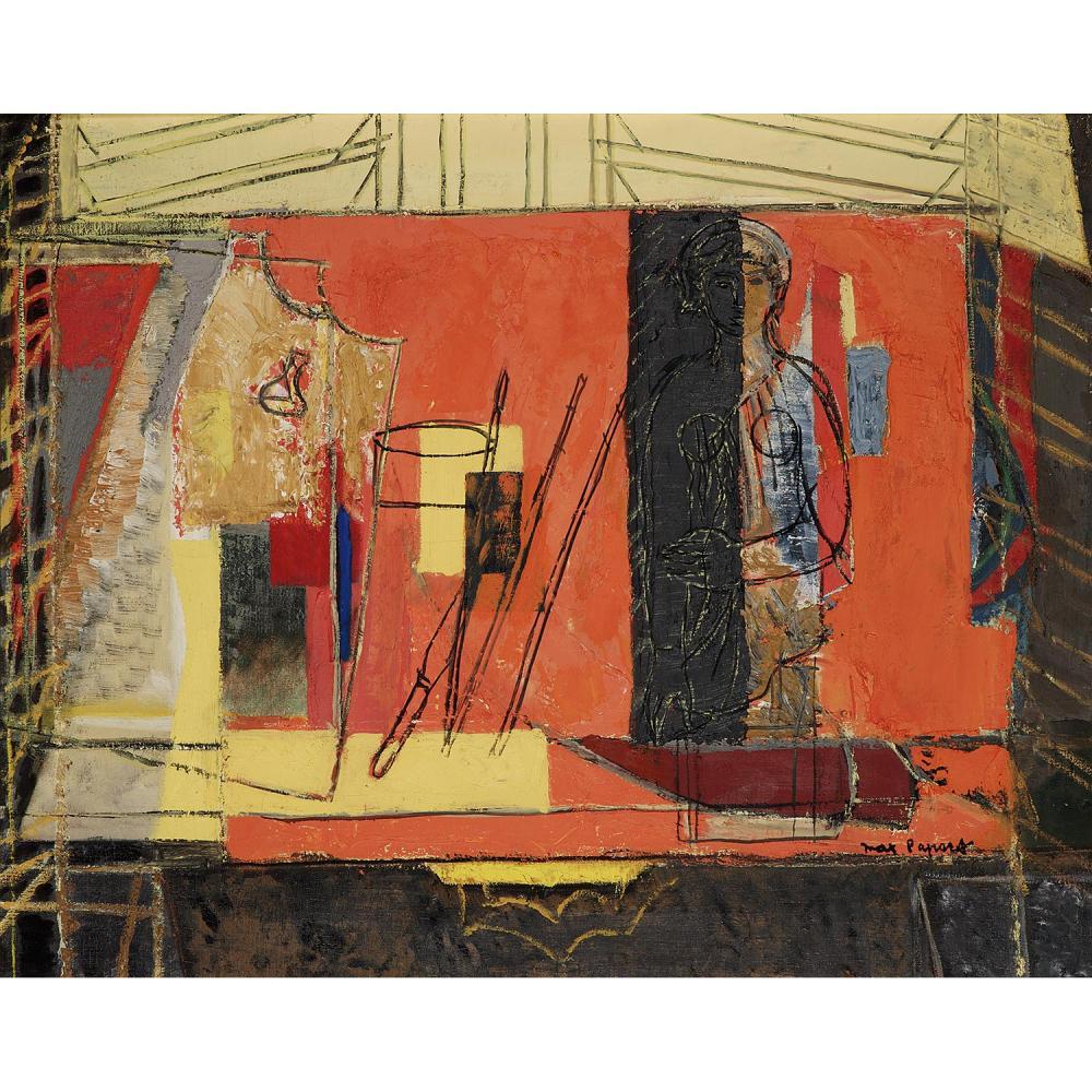 MAX PAPART (1911-1994) NATURE MORTE À L'ANTIQUE Huile sur toile Signée en bas à droite Signée une seconde fois et titrée...