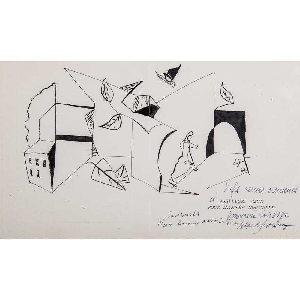 LÉOPOLD SURVAGE (1879-1968) FEMME DANS UNE VILLE CUBISANTE, 1967