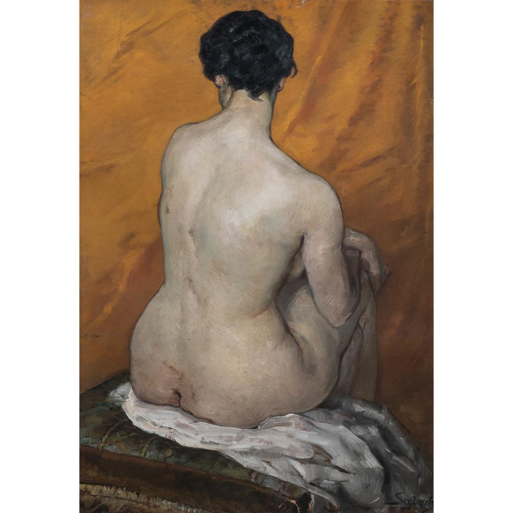 LOTHAR VON SEEBACH (1853-1930) NU FÉMININ DE DOS (ALICE SCHAAL), 1916 Huile sur carton Signée et datée '1916' en bas à dro...