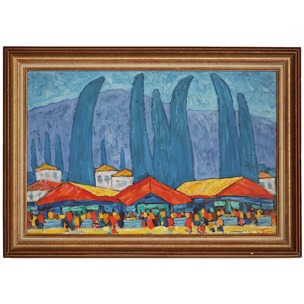 KIM NIKOLAEVICH BRITOV (1925-2010) LE MARCHÉ AUX SOURCES CHAUDES
