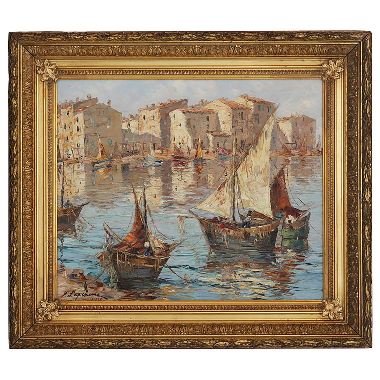 GEORGES LAPCHINE (1885-1950) VUE DU VIEUX PORT DE MARTIGUES, 1938 Huile sur toile Signée et datée en bas à gauche Titré...