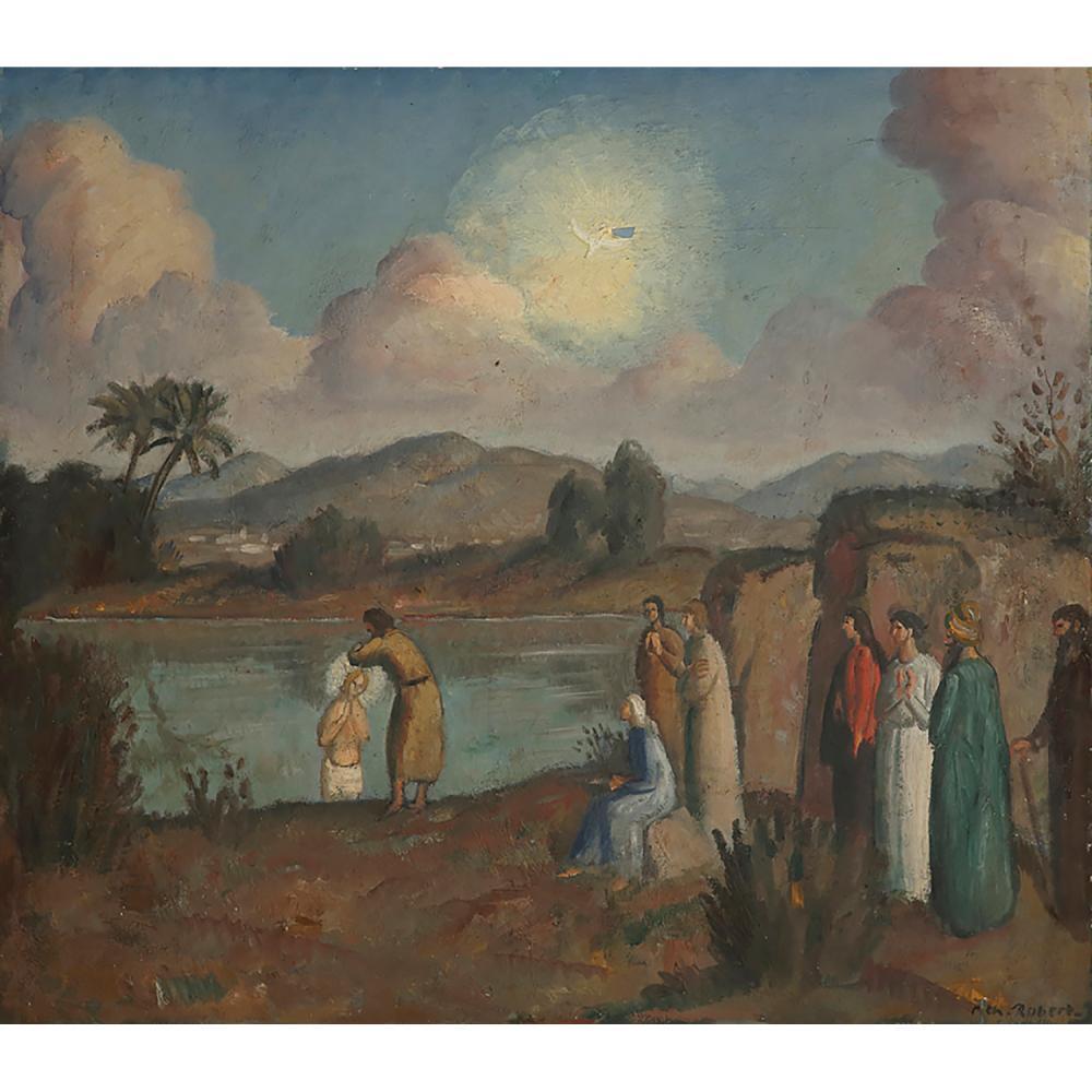 PAUL-THÉOPHILE ROBERT (1879-1953) LE BAPTÊME DU CHRIST PAR JEAN LE BAPTISTE