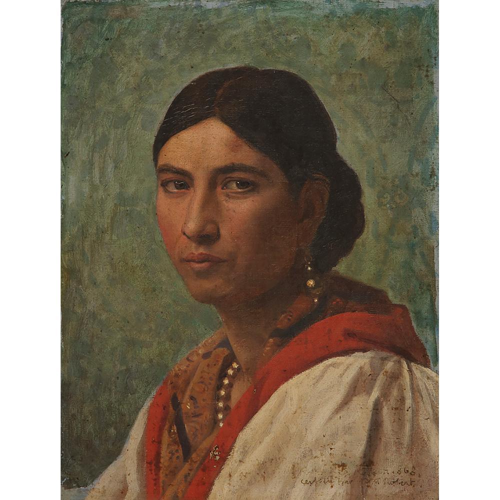 LÉO-PAUL ROBERT (1851-1923) TÊTE D'ITALIENNE AU CHÂLE ROUGE, 1868