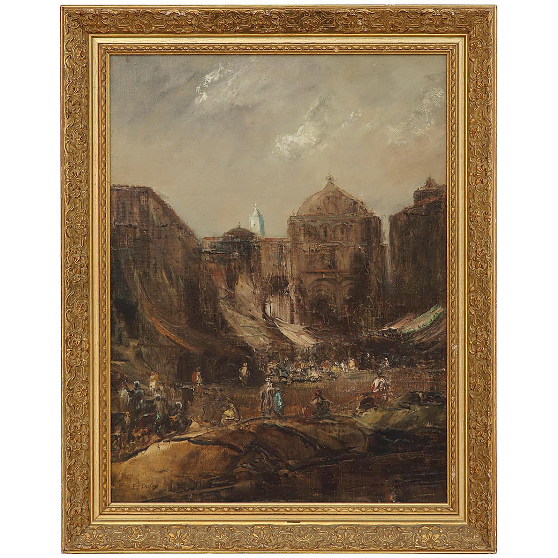 ÉDOUARD DUFEU (1840-1900) VUE ANIMÉE D'UNE PLACE DE VENISE Huile sur toile Signée en bas à gauche Oil on canvas; signed...