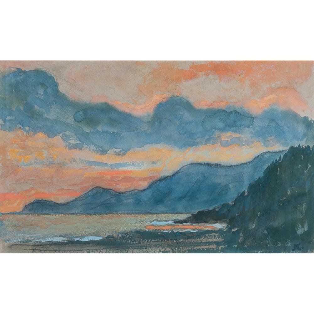 JEAN-FRANCIS AUBURTIN (1866-1930) CIEL D'ORAGE SUR ROQUEBRUNE