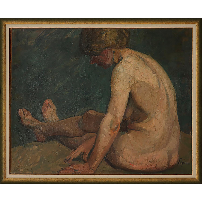 JOSEPH LÉPINE (1867-1943) NU FÉMININ ASSIS, VERS 1930 Huile sur papier marouflé sur carton Signée en bas à droite Oil on...