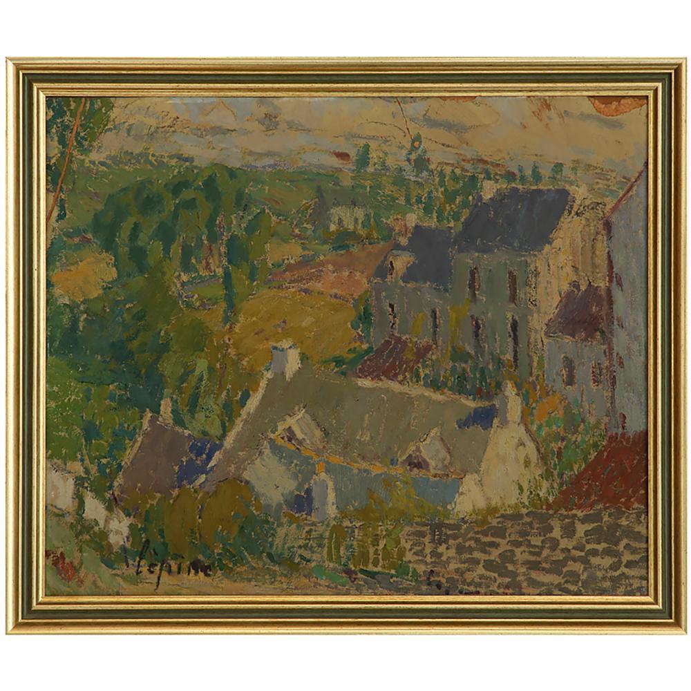 JOSEPH LÉPINE (1867-1943) VIEILLES MAISONS EN BRETAGNE, FIN DES ANNÉES 1930 Huile sur papier marouflé sur panneau Signée e...
