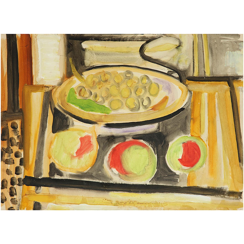 PIERRE TAL COAT (1905-1985) NATURE MORTE AUX FRUITS, VERS 1943 Huile sur papier Oil on paper 34 X 46 CM - 13 3/8 X 18 1/...