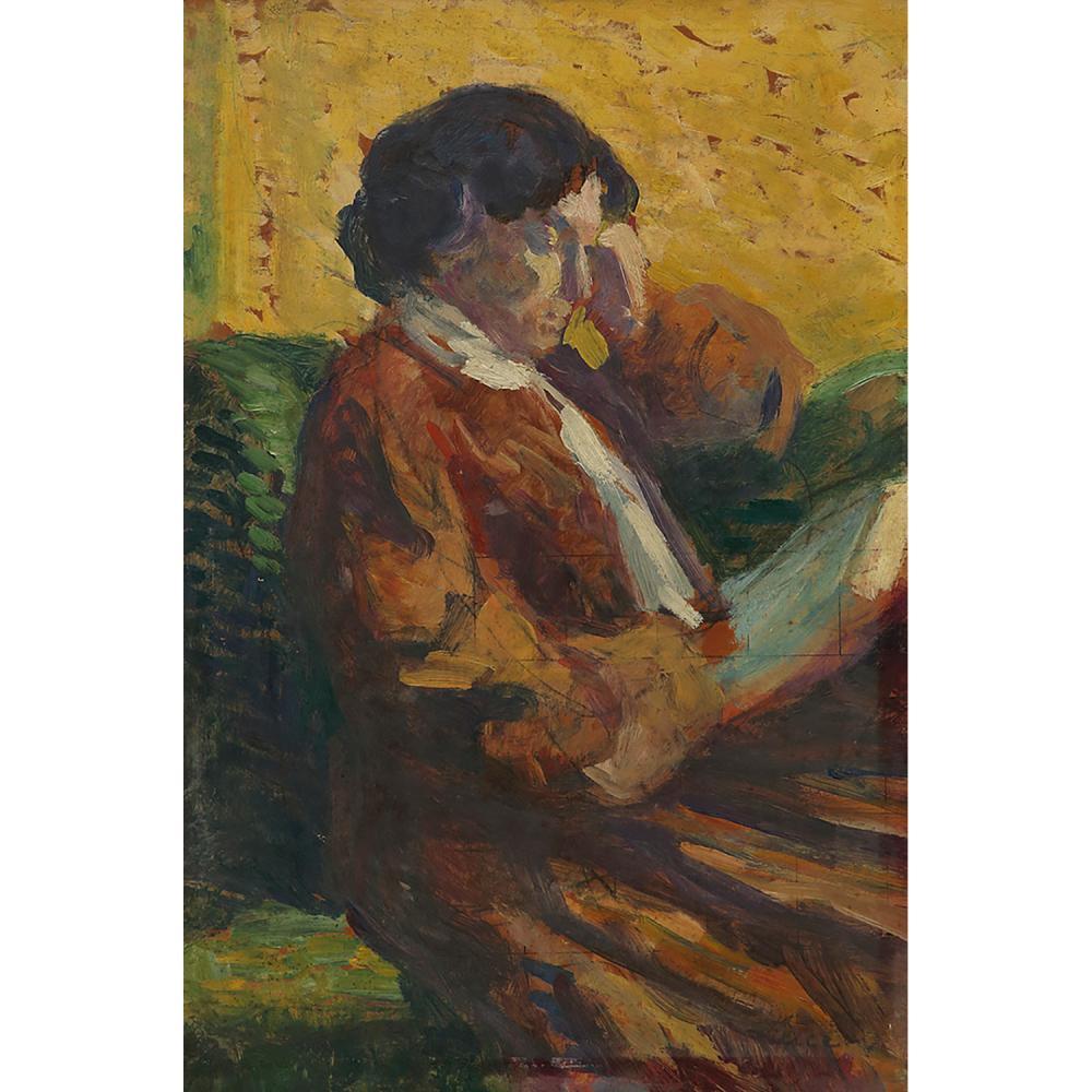 ATTRIBUÉ À MAXIMILIEN LUCE (1858-1941) FEMME ASSISE À LA LECTURE Huile sur carton Signée en bas à droite Oil on cardboar...
