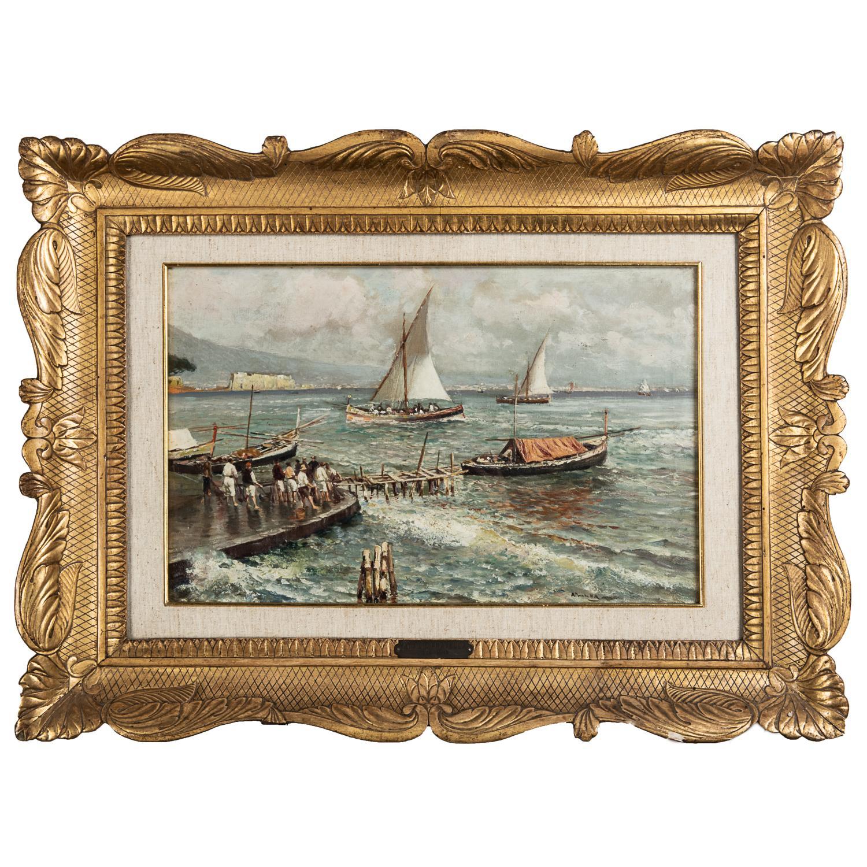 ATTILIO PRATELLA (1856-1949) PÊCHEURS SUR LE QUAI EN CAMPANIE Huile sur toile Signée en bas à droite Porte la mention 'O...