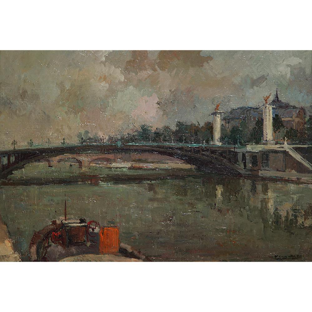 FRAN-BARO (1926-2000) VUE DE PARIS AVEC LE PONT ALEXANDRE III ET LE GRAND PALAIS Huile sur toile Signée en bas à droite ...