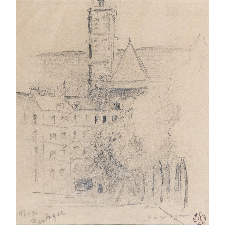 LÉOPOLD SURVAGE (1879-1968) VUE DE PARIS AVEC LE CLOCHER DE L'ÉGLISE SAINT-GERVAIS-SAINT-PROTAIS