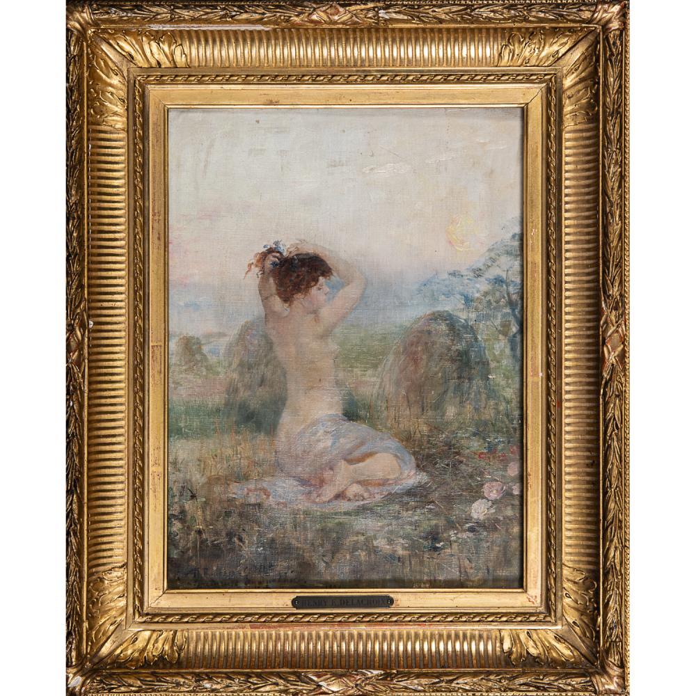 HENRY-EUGÈNE DELACROIX (1845-1930) FEMME AJUSTANT SES CHEVEUX