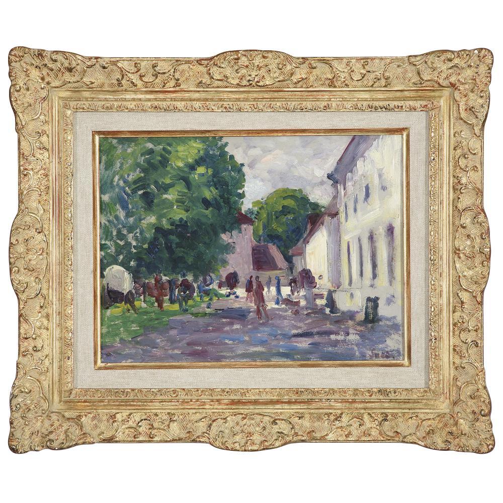 MAXIMILIEN LUCE (1858-1941) LA COUR DU MARCHÉ, GISORS, VERS 1895-1897 Huile sur papier marouflé sur panneau Signée en bas...