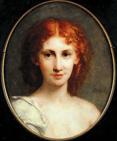 Louis Gustave RICARD (Marseille 1823 - Paris 1873) Portrait présumé de Madame Emile Gaillard Panneau ovale 45 x 36 cm Signé en bas...