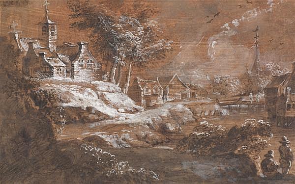 Franz Edmund WEIROTTER (Innsbruck 1730—Vienne 1771) Village au bord de l'eau Lavis brun et gouache blanche sur papier préparé 20 x 3...