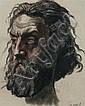 Henri LEHMANN (Kiel 1814—Paris 1882) Portrait d'homme barbu Crayon noir et sanguine 11 x 9 cm Daté en bas à droite «23 avril» On j..., Henri Lehmann, Click for value