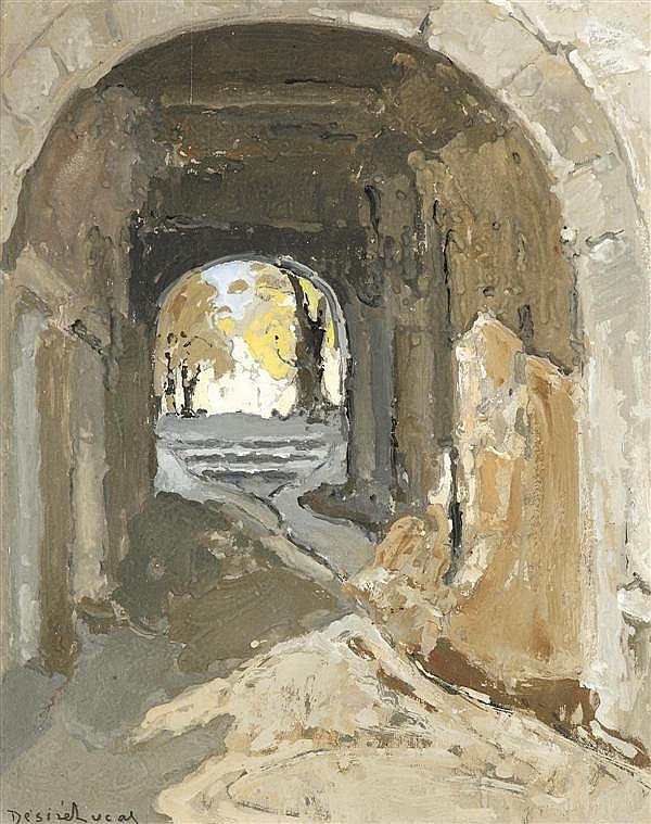 Louis Désiré LUCAS (Fort de France 1869 - Douarnenez 1949) Passage vouté à Montpezat Gouache sur carton 40 x 32 cm Signé en bas à ga...