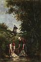 Léon RICHET (1847-1907) Les lavandières, 1891 Huile sur toile Signée du monogramme et datée en bas à gauche 37 x 25,5cm