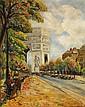Antoine BLANCHARD (1910-1988) Vue sur l'arc de triomphe Huile sur toile Signée en bas à droite 76 x 61cm