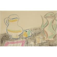LOUIS LATAPIE (1891-1972) NATURE MORTE (ÉTUDE AU 'DIABLE'), ANNÉES 1940 Crayon gras et fusain sur papier Signé en bas à droit...