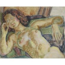 LOUIS LATAPIE (1891-1972) NU ASSIS (CLARISSE), VERS 1938 Pastel sur papier Signé en bas à droite Pastel on paper; signed low...