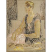 LOUIS LATAPIE (1891-1972) FEMME À LA BLOUSE CAUCASIENNE, VERS 1936-1938 Pastel sur papier Signé au dos Pastel on paper; sign...