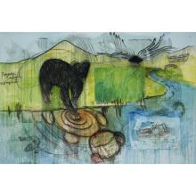 """FABRICE HYBER (né en 1961) ENCÉPHALOGRAMME, 2010 Oil, epoxy resin, charcoal and collage on canvas; signed, dated and annotated """"..."""