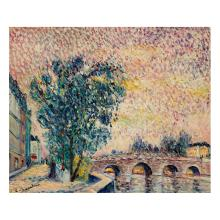 Lucien Neuquelman (1909-1988) Le pont neuf Oil on isorel; signed lower left 18 1/8 x 21 1/4 in.
