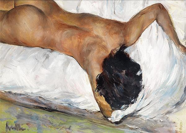 Jacques FAVRE DE THIERRENS (1895-1973) Femme allongée Huile sur panneau Signée en bas à gauche 24 x 33 cm