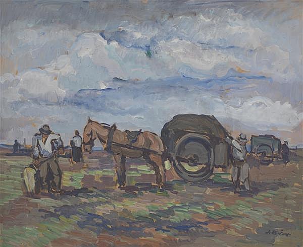 PIERRE DE BELAY (1890-1947) Le ramassage des goémons en Pays Bigouden Huile sur carton Signée en bas à droite 50 X 61 cm
