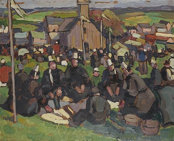 PIERRE DE BELAY (1890-1947) Le pardon de Sainte-Anne-La-Palud, 1927 Huile sur carton Signée et datée en bas à droite 50 x 61 cm