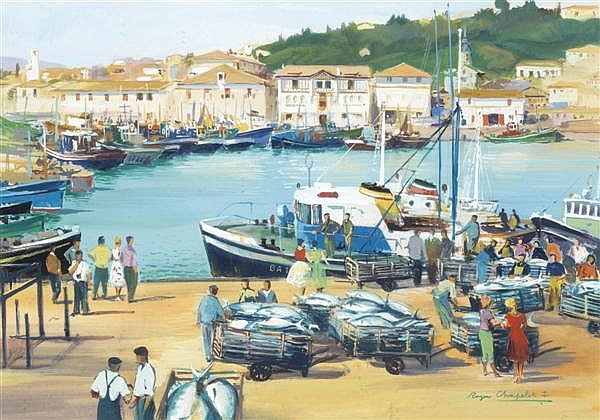 Roger Chapelet (1903-1995) Le retour de pêche Gouache et aquarelle sur carton Signée en bas à droite 38 x 55,5 cm