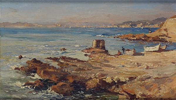 Etienne Philippe Martin(1858-1945) Mer à Montredon, vers 1922 Huile sur panneau Signée en bas à droite 17 x 26 cm