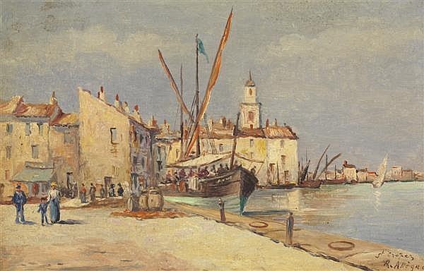 Raymond Allègre (1857-1933) Petit Port de Saint-Tropez Huile sur panneau Signée et située en bas à droite 21 x 31 cm