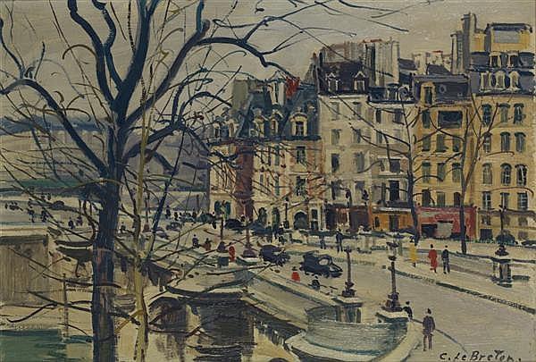 CONSTANT LEBRETON (1895-1985) 21 rue Visconti, VIème Huile sur toile Signée en bas à droite 38 x 55 cm