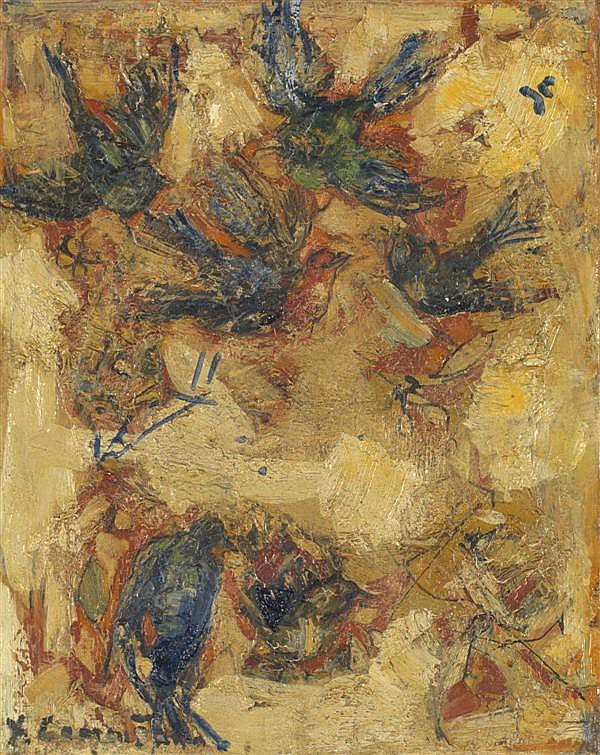 Yves-Jean COMMERE (1920-1986) Les oiseaux Huile sur toile Signée en bas à gauche 24 x 19 cm
