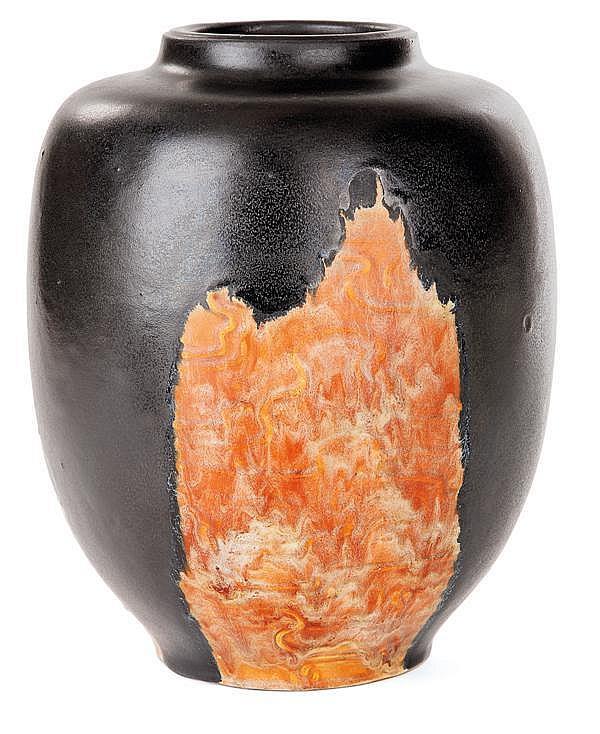 Émile DECOEUR (1876-1953) Vase ovoïde en grès à épaulement et court col galbé, décor japonisant en bas-relief de rais d'eau, coulure...