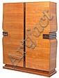 René PROU (1889-1947) Spectaculaire armoire en placage de citronnier, plinthe à doucine s'élevant d'une terrasse bordée d'un large j..., René Prou, Click for value