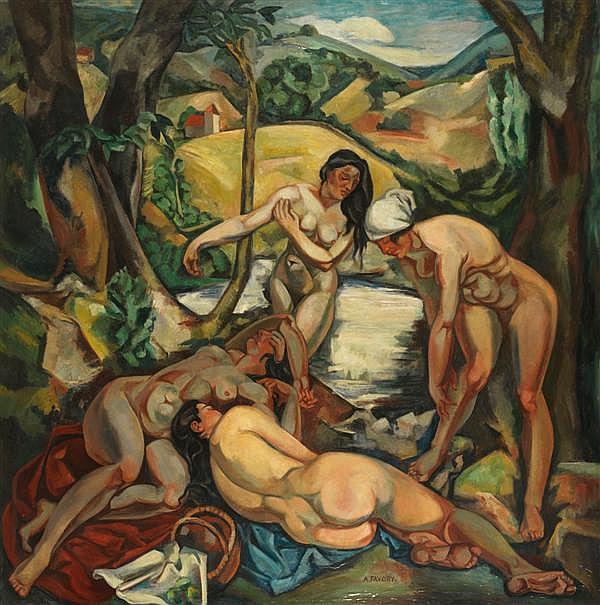 ƒ André FAVORY (1888-1937) Les baigneuses, 1919 Huile sur toile Signée en bas à droite 190 x 190 cm