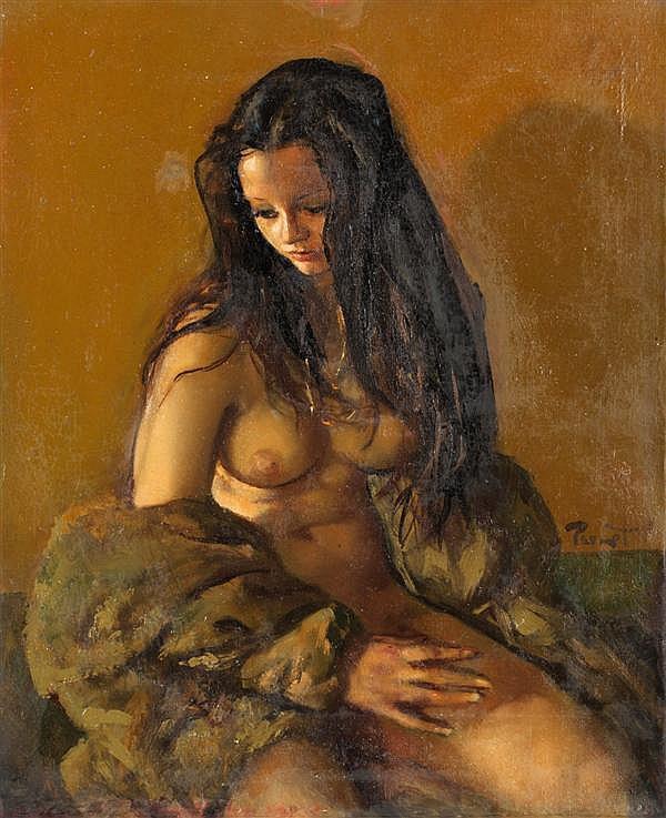 Pierre (Laurent) Brenot (1913) Joëlle Huile sur toile Signée au centre à droite Contresignée au dos 61 x 50,5 cm
