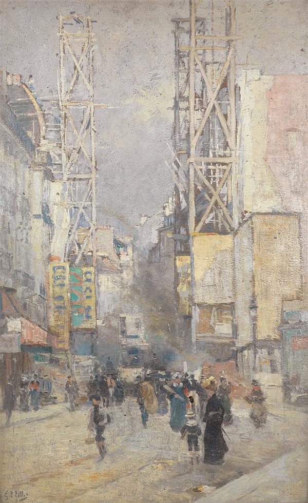 Eugène Louis GILLOT (1867-1925) Rue de Paris,1900 Huile sur panneau Signée en bas à gauche 89 x 56,5 cm