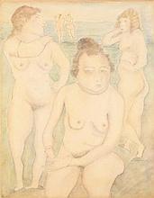 PASCIN (Jules PINCAS dit) (1885-1930) Cinq nus dans un paysage Pastel, crayon et fusain sur papier marouflé sur toile Signé en bas à...